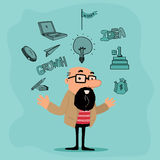Creative illustration of businessman with various elements. Stock Image