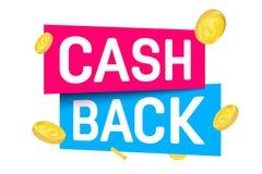 Creative illustration of cash back, cashback return, money refund tag isolated on background. Art design sticker, labels, emblem. Advertisement banner template stock illustration