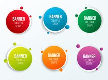 Creative illustration of colorful circle text boxes set isolated on background. Overlay colors shape round banners art desi. Gn. Fun label form. Paper style spot vector illustration