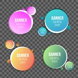 Creative illustration of colorful circle text boxes set isolated on background. Overlay colors shape round banners art desi. Gn. Fun label form. Paper style spot Royalty Free Illustration