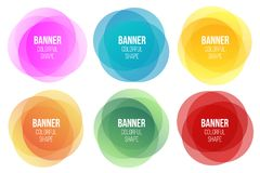 Creative illustration of colorful round abstract banners. Overlay colors shape art design. Fun label form. Paper style spot. S. Abstract concept graphic tag vector illustration
