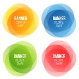 Creative illustration of colorful round abstract banners. Overlay colors shape art design. Fun label form. Paper style spot. S. Abstract concept graphic tag stock illustration