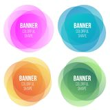 Creative illustration of colorful round abstract banners. Overlay colors shape art design. Fun label form. Paper style spot. S. Abstract concept graphic tag royalty free illustration
