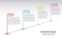 Creative illustration of company milestones timeline. Template with pointers. Curved road line art design with information. Placeholders. Abstract concept vector illustration