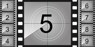 Creative illustration of countdown frame. Art design. Old film movie timer count. Vintage retro cinema. Abstract concept graphic. Element. Universal leader stock illustration