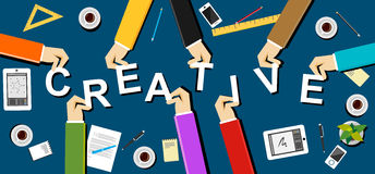 Creative illustration. Creativity concept. Flat design illustration concepts for creative team, teamwork, team, solidarity, meetin Royalty Free Stock Photography