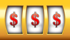 Creative illustration of 3d gambling reel, casino slot machine isolated on background. Art design. Concept abstract graphic. Element - one arm bandit, lucky royalty free illustration