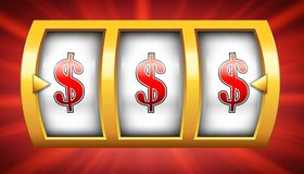 Creative illustration of 3d gambling reel, casino slot machine isolated on transparent background. Art design. Concept abst. Ract graphic element - one arm stock illustration