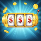 Creative illustration of 3d gambling reel, casino slot machine on transparent background. Art design. Concept abst. Ract graphic element - one arm bandit, lucky royalty free illustration