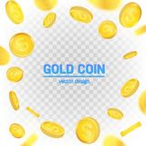Creative  illustration of 3d gold coins floating in different perspective.  on transparent background. Dollar sign. Realistic money. Art design. Abstract Stock Images