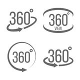 Creative illustration of 360 degrees view related sign set isolated on transparent background. Art design. Abstract concept. Graphic rotation arrows, panorama stock illustration