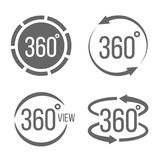 Creative  illustration of 360 degrees view related sign set isolated on transparent background. Art design. Abstract concept. Graphic rotation arrows, panorama Stock Image