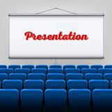 Creative  illustration of empty meeting projector screen  on transparent background. For presentation board, blank w. Hiteboard template mockup for conference Stock Photos