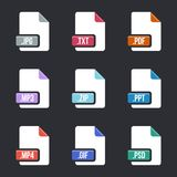 Creative  illustration of file type icon set isolated on background. Art design flat lable. Document formats. Abstract conce. Pt graphic pictogram element for Royalty Free Stock Photo