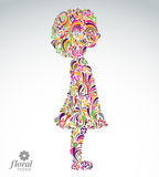 Creative illustration of a girl with a short hair. Cute teenage Stock Images