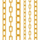 Creative illustration of gold metallic dangling chain links set isolated on background. Art design seamless metal. Abstract. Concept graphic element stock illustration