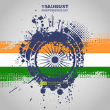 Creative Illustration for Indian Independence Day with tricolors and ashoka wheel. Abstract dirt backgrounds texture. Grunge banner with an inky dribble strip Vector Illustration