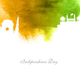 Creative illustration for Indian Independence Day. Creative white illustration of famous monuments on abstract watercolor background, Elegant Greeting Card Royalty Free Stock Image