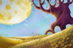 Creative Illustration and Innovative Art: Alien Planet Landscapes. Realistic Fantastic Cartoon Style Artwork Scene, Wallpaper, Story Background, Card Design Stock Images