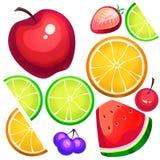 Creative Illustration and Innovative Art: Assorted Fresh Fruit Slices. Stock Photos
