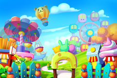 Creative Illustration and Innovative Art: Background Set: Colorful Playground, Amusement Park. Realistic Fantastic Cartoon Style Artwork Scene, Wallpaper stock illustration