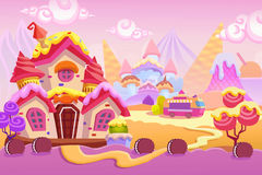 Creative Illustration and Innovative Art: Background Set 1: Ice cream Town Stock Photos