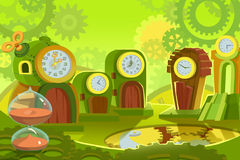 Creative Illustration and Innovative Art: Background Set 6: Time Land. Realistic Fantastic Cartoon Style Artwork Scene, Wallpaper, Story Background, Card Stock Image