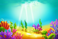 Creative Illustration and Innovative Art: Beautiful and Peaceful Undersea World. Royalty Free Stock Photo