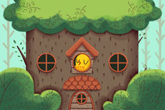 Creative Illustration and Innovative Art: Bird's Home, The Deluxe Big Tree House. Royalty Free Stock Photos