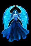 Creative Illustration and Innovative Art: Blue Angel and Rose. Royalty Free Stock Photos