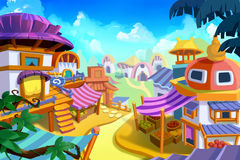 Creative Illustration and Innovative Art: Cartoon Town. Realistic Fantastic Cartoon Style Artwork Scene, Wallpaper, Story Background, Card Design Stock Images