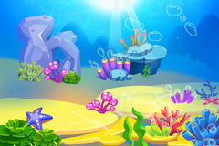 Creative Illustration and Innovative Art: Clearing under Sea. Realistic Fantastic Cartoon Style Artwork Scene, Wallpaper, Story Background, Card Design Stock Images