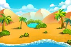 Creative Illustration and Innovative Art: Desert Hill, Desert Oasis. Stock Image