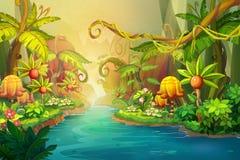Creative Illustration and Innovative Art: Fairy River Scene Design. Stock Photo