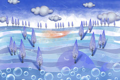 Creative Illustration and Innovative Art: Forest On the Sea. Royalty Free Stock Photos