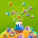 Creative Illustration and Innovative Art: Fruit Ice Blocks from Ice Volcanic Eruption. Royalty Free Stock Image