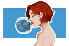 Creative Illustration and Innovative Art: Girl and Bubble Fish Stock Photos