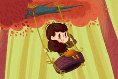 Creative Illustration and Innovative Art: Girl on the Tire Swing. Realistic Fantastic Cartoon Style Artwork Scene, Wallpaper, Story Background, Card Design Stock Image