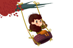 Creative Illustration and Innovative Art: Girl on the Tire Swing. Stock Photo