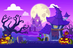 Creative Illustration and Innovative Art: Halloween Town. Realistic Fantastic Cartoon Style Artwork Scene, Wallpaper, Story Background, Card Design Royalty Free Stock Images