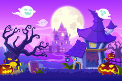Creative Illustration and Innovative Art: Halloween Town. Realistic Fantastic Cartoon Style Artwork Scene, Wallpaper, Story Background, Card Design Royalty Free Stock Photos