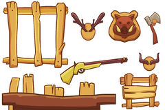 Creative Illustration and Innovative Art: Hunter Equipment. Royalty Free Stock Photo