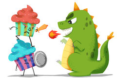 Creative Illustration and Innovative Art: Ice Cream Guardians Fight with Dinosaur Monster. Stock Images