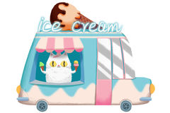 Creative Illustration and Innovative Art: Ice Cream Van. Realistic Fantastic Cartoon Style Artwork Scene, Wallpaper, Story Background, Card Design Stock Photos