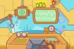 Creative Illustration and Innovative Art: Interior Background Set 4: Control Room. Realistic Fantastic Cartoon Style Artwork Scene, Wallpaper, Story Background vector illustration