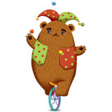 Creative Illustration and Innovative Art: Joker Bear on the Unicycle. Royalty Free Stock Photography