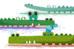Creative Illustration and Innovative Art: The Little Frog on Crocodile Boat. Stock Photography