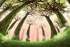 Creative Illustration and Innovative Art: Mystery Forest. Realistic Fantastic Cartoon Style Artwork Scene, Wallpaper, Story Background, Card Design Royalty Free Stock Images