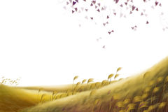 Creative Illustration and Innovative Art: Simple Background Grass and Leaves. Stock Images