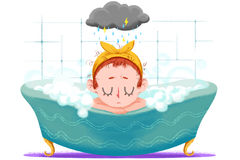 Creative Illustration and Innovative Art: Small Girl is Taking Bath in the Tub. Realistic Fantastic Cartoon Style Artwork Scene, Wallpaper, Story Background Royalty Free Stock Photography